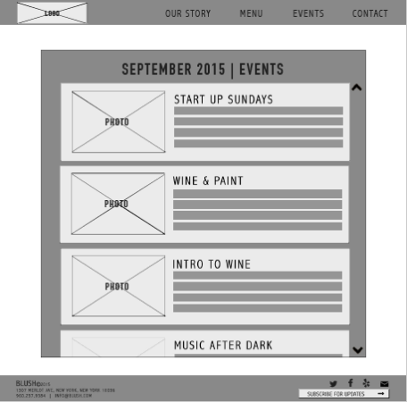 Blush Events Page Wireframe