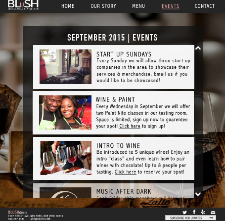 Blush Events Page Mockup