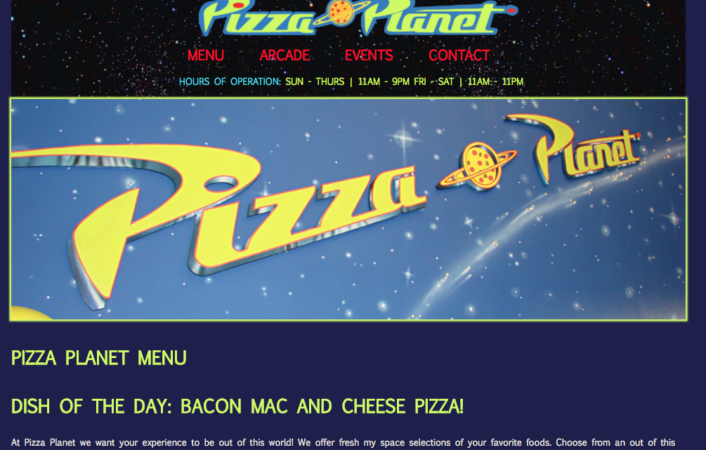 Pizza Planet Fictional Menu Page