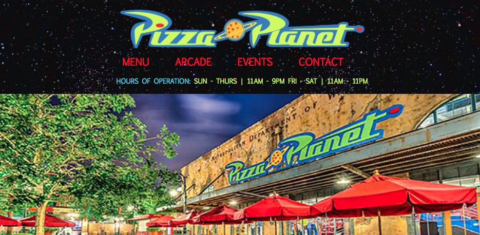 Fictional Pizza Planet Website