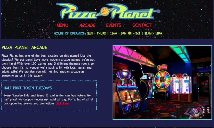 Pizza Planet Fictional Arcade page