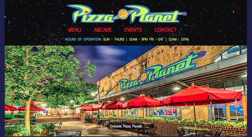 Pizza Planet Fictional Website