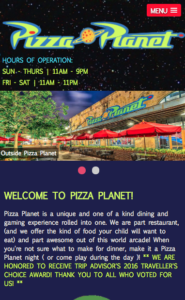Pizza Planet Fictional Mobile layout